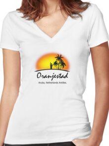Oranjestad, Aruba Netherlands Antilles Women's Fitted V-Neck T-Shirt
