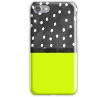 Neon lime color block black white polka dots iPhone Case/Skin