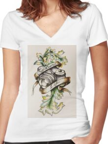 Photog - Capture Life Women's Fitted V-Neck T-Shirt