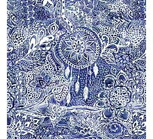 Blue modern dreamcatcher feathers floral doodles  Photographic Print