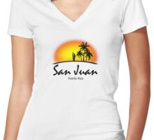 San Juan, Puerto Rico Women's Fitted V-Neck T-Shirt