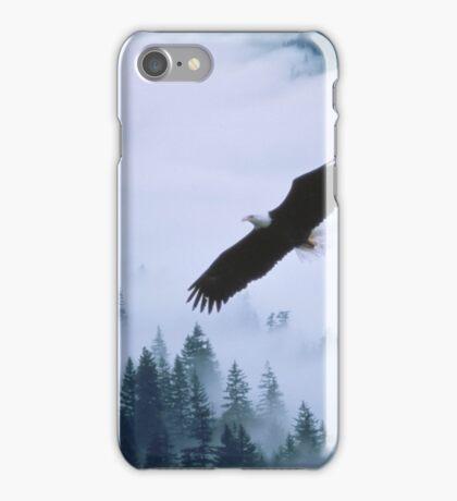 Bald eagle soars over foggy forest iPhone Case/Skin