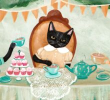 Cat and Rabbits Tea Party Sticker