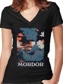 visit mordor t shirt Women's Fitted V-Neck T-Shirt