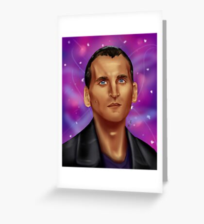 9th Doctor-Space Background Greeting Card