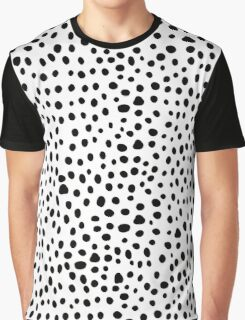 Modern Black and White Hand Drawn Polka Dots Graphic T-Shirt