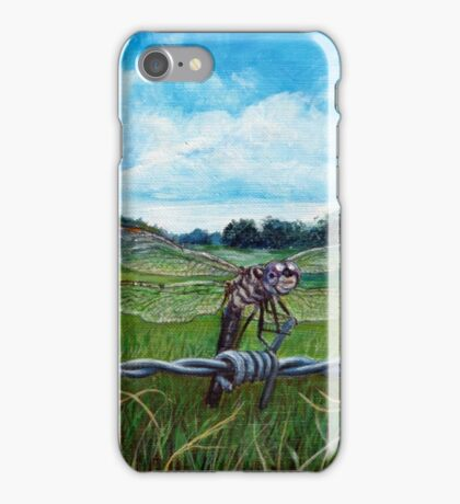 Dragonfly on barbed wire iPhone Case/Skin