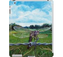 Dragonfly on barbed wire iPad Case/Skin