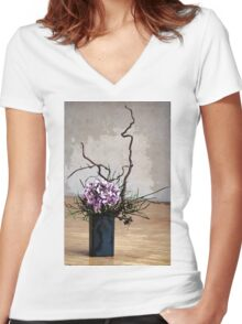 Hydrangea in Vase on Wooden Floor Watercolor Women's Fitted V-Neck T-Shirt