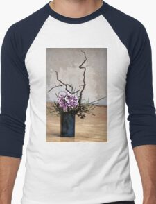 Hydrangea in Vase on Wooden Floor Watercolor Men's Baseball ¾ T-Shirt