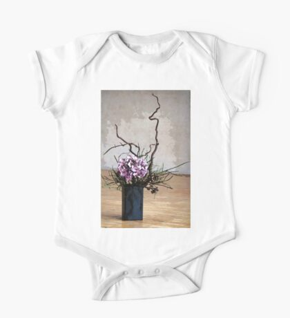Hydrangea in Vase on Wooden Floor Watercolor One Piece - Short Sleeve