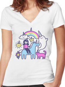 Unicorns Everywhere! Women's Fitted V-Neck T-Shirt