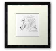 White Horse on White Framed Print