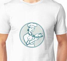 Female Chef Serving Chicken Roast Circle Retro Unisex T-Shirt