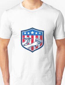 Drywall Repair Service American Flag Shield Retro Unisex T-Shirt