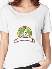 Vintage Lady Holding Grapes Circle Retro Women's Relaxed Fit T-Shirt