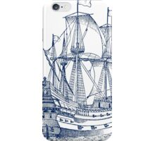 Ship Galleon sailboat engraving iPhone Case/Skin