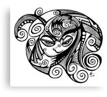 Sleepy Eyed Face with Swirly Hair Canvas Print