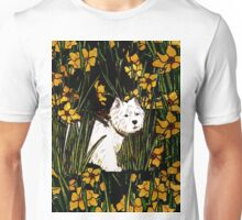 Westie in a yellow flower bed Unisex T-Shirt