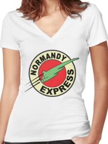 The Planet Express Parody: Mass Effect Women's Fitted V-Neck T-Shirt