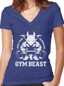 Not the average GYM BEAST Women's Fitted V-Neck T-Shirt