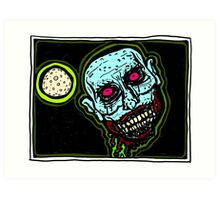 Zombie Snack Attack COLORIZED Art Print