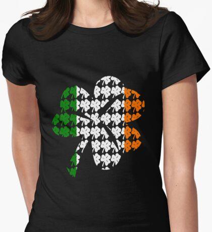 Shamrock Irish Flag Womens Fitted T-Shirt