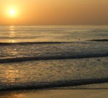 California Surfing Sunset - Pacific Beach, San Diego, California Sticker