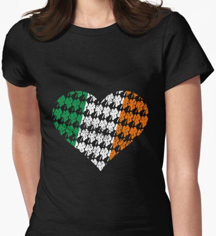 Irish Flag Heart Womens Fitted T-Shirt