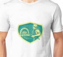 Pizza Maker Holding Peel Crest Woodcut Unisex T-Shirt