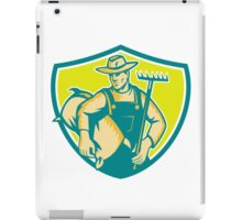 Organic Farmer Rake Sack Shield Woodcut iPad Case/Skin