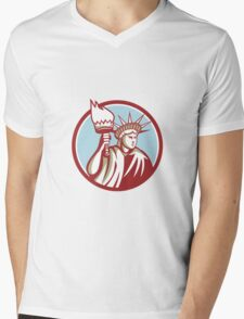 Statue of Liberty Holding Flaming Torch Circle Retro Mens V-Neck T-Shirt