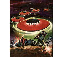 UFO attack! Classic Comic Cover Art Photographic Print