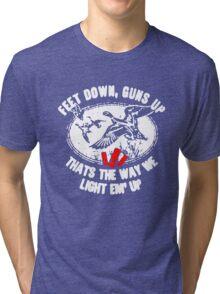 Feet Down Guns Up Hunting Duck Tri-blend T-Shirt