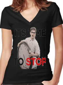 Its Time To Stop Women's Fitted V-Neck T-Shirt