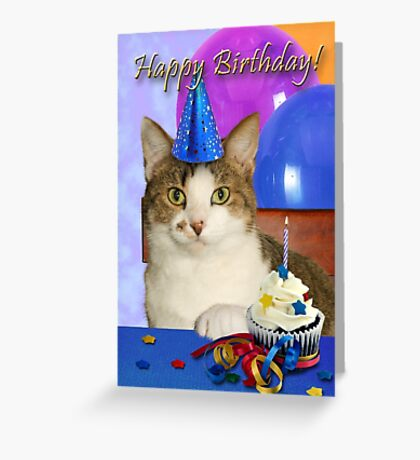 Birthday Tabby Cat Greeting Card