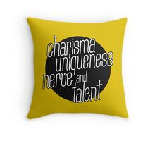 charisma, uniqueness etc Throw Pillow