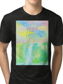 Free Your Soul Watercolor Colorful Spring Waterfall Painting Tri-blend T-Shirt