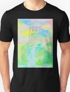 Free Your Soul Watercolor Colorful Spring Waterfall Painting T-Shirt