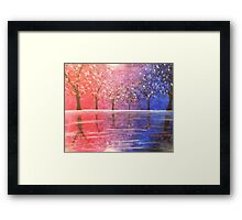 Diverged in a Purple Wood Framed Print