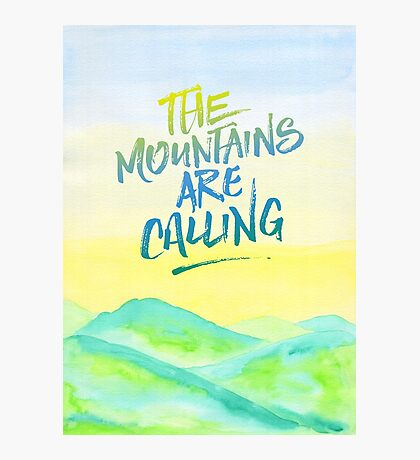 The Mountains Are Calling Yellow Blue Sky Watercolor Painting Photographic Print