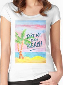 Take Me to the Beach Palm Trees Watercolor Painting Women's Fitted Scoop T-Shirt