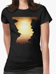 Flock of Birds Mountain Sunset T Shirt Womens Fitted T-Shirt
