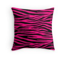 0067 Bright Pink or Rose Tiger Throw Pillow