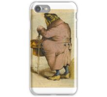 J. J. Grandville ,A Frog in an Overcoat, Holding a Top Hat and Cane iPhone Case/Skin