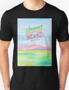 North Bound Pink Purple Mountains Watercolor Painting Unisex T-Shirt