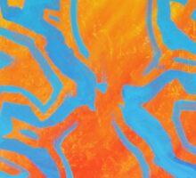 Abstract Acrylic Pattern - Orange & Blue Sticker