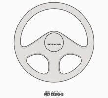 Nissan Silvia S13 Steering Wheel (White) Kids Tee