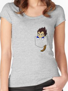 Chibi Vegeta in shirt pocket Women's Fitted Scoop T-Shirt