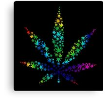 Marijuana in Marijuana Leaf [Rainbow] Canvas Print